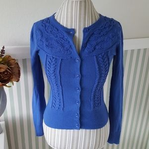 Blue Tabitha Anthropologie  Embroidered Cardigan S